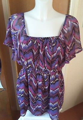 Ladies Lovely Purple Tunic Top by Elegance Size 16 Holiday Occasion Party