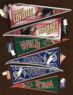 Nhl Pennant Lot Of 6 New Pennants: Wild/tampa Bay Lightning/phoenix Coyotes