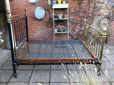 Victorian Brass and iron Standard Double Bed with Spring Base