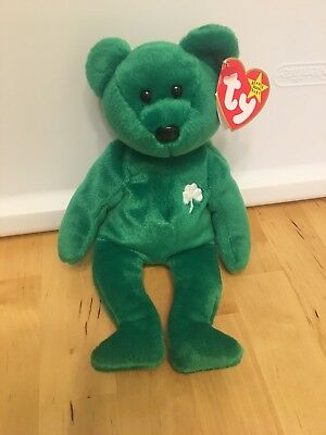 52169afd835 1997 Retired Irish Erin The Bear Original TY Beanie Baby RARE No Stamp In  Tag