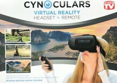 Cynoculars 3D Movie Virtual Reality Headset Wireless Gaming Remote As Seen..