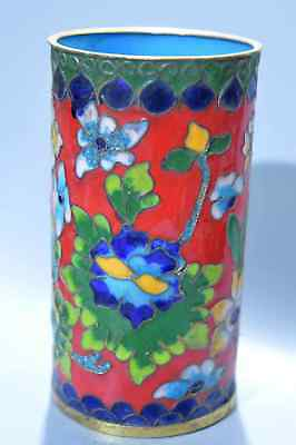 Rare Collectable Handwork Cloisonne Carve Blooming Flower Royal Noble Brush Pot