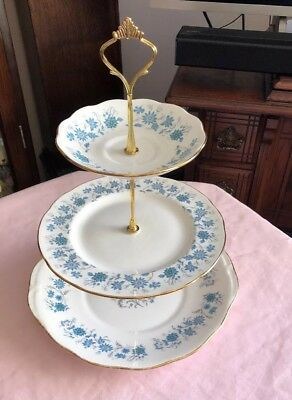 Lovely Vintage Colclough Bone China Matching 3 Tier Cake Stand