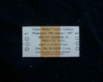 Steamranger train Railway ticket No. 0001 Mount Barker - Philcox Hill 1997 train