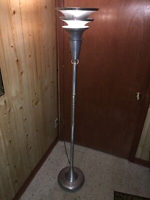 Vtg MCM Art Deco Machine Age Chrome Glass Ball/Stem TORCHIERE Floor Lamp Rohde