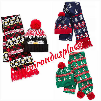 Hooked Up By IOT Unisex Juniors Holiday Winter Scarf & Beanie Hat Set