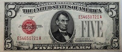 1928-B $5 Legal Tender United States Note *Red Seal* Crisp Uncirculated Fr#1527