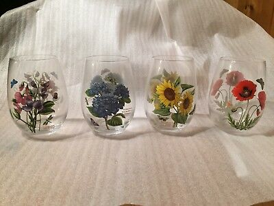 Portmeirion Botanic Garden Set of 4 Stemless wine glasses floral