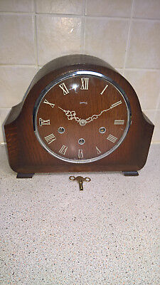 vintage Smiths westminster chime clock with brass roman numerals & hands