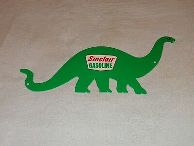 "Vintage ""sinclair Gasoline Die-Cut Dino Dinosaur"" 14"" X 8"" Metal Gas & Oil Sign!"