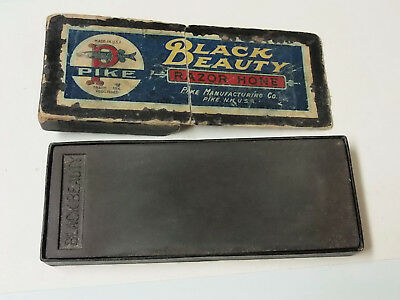 """Vintage Pike Black Beauty Sharpening Oil Stone USA In Original Box Size 6 1/2"""""""