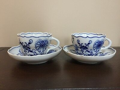 Set of 2 Meissen Blue Onion Flat Cups And Saucers, Crossed Swords Mark