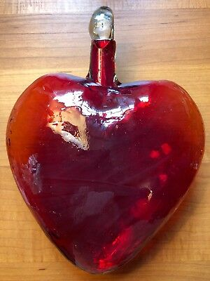 """Hanging Glass Ball 9"""" Clear Glass Red Heart"""