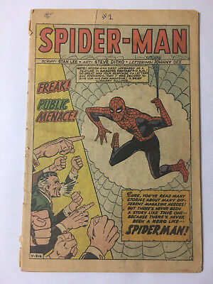 Amazing Spider-Man #1 CGC. Missing Cover, Complete. Stan Lee Silver Age