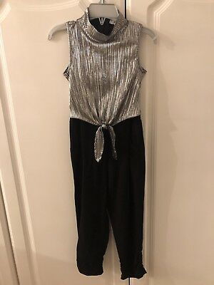 Girls Black And Silver Jump Suit Age 4 NEW