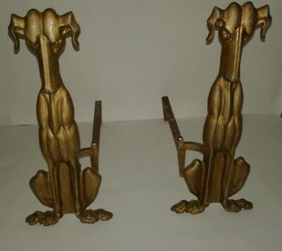 PAIR Of ANTIQUE ART DECO Figural WHIPPET/GREYHOUND Fire DOG ANDIRONS
