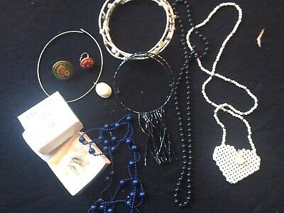 Vintage Costume Jewellery Job Lot 9 Items Necklace,earings,rings,chokers,etc