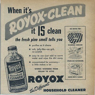Vintage Original Magazine Print Ad  from year 1951 Royox Household Cleaner