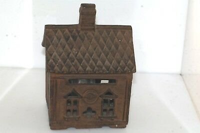 "Antique Cast Iron Still Bank 6"" Old Farm Road House"