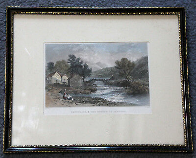 Hand coloured 19th century engraving 'Watenlath, & the stream of Lowdore'