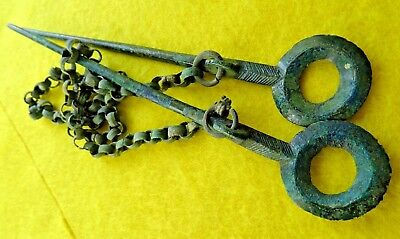 Viking Bronze Decorative Pin Set with A Chain