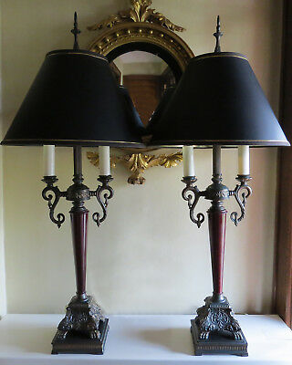 """Vntg Pair Lamps Tall Metal French Inspired Hollywood Regency Table Lamps 40.5"""""""