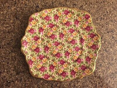 NEW 1999 Royal Albert Old Country Roses Yellow and Pink Rose Chintz Cake Plate