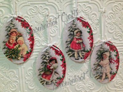 French Country Shabby Cottage Chic Christmas Ornaments - Vintage Children