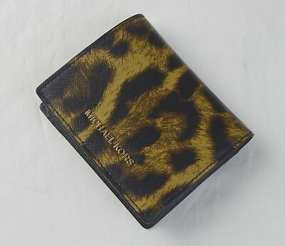 Michael Kors Butterscotch Leopard Saffiano Leather Flap Card Holder Case Wallet
