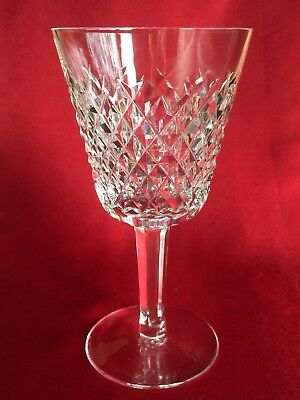 "Waterford Alana Claret Crystal Wine Goblet Crosshatch 5-3/4"" Ireland Old Mark"