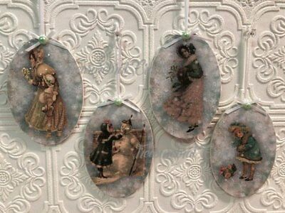 French Country Shabby Cottage Chic Christmas Ornaments - Victorian Design