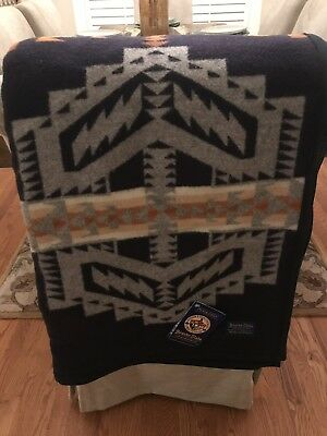 Pendleton Beaver State SW Indian Design Blanket Throw Wool Cotton USA 64x80 NWT