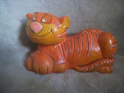 Vintage Paper Mache CAT COIN BANK 1960's Mid Century Hand Painted