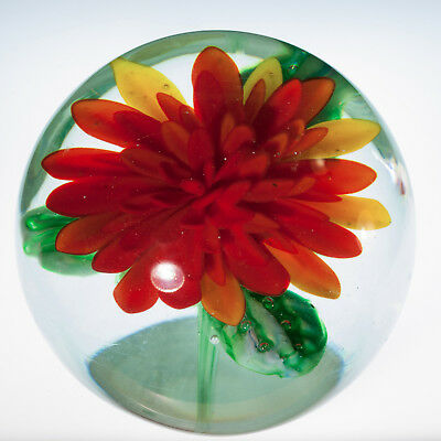 Zinnia Art Glass Paperweight