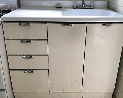 Vintage Porcelain Kitchen Sink Cast Iron Antique Single Drainboard Farm House