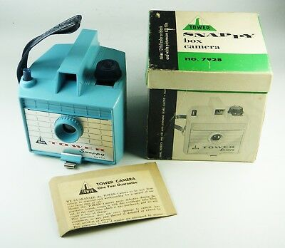 Vintage 1960's TOWER SNAPPY BOX CAMERA in Box, Instructions: TURQUOISE PLASTIC