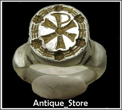 ** CHI-RHO ** Ancient Silver - Gold Legionary Roman Ring **AMAZING **16,4g