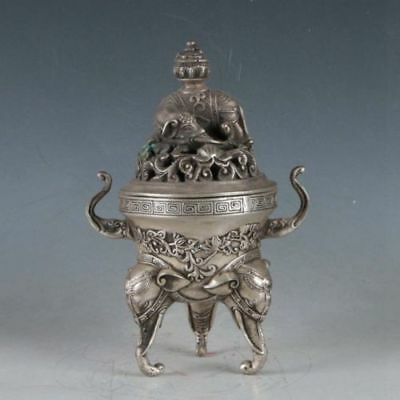 Silvering Copper Elephant Incense Burner Made During Da Ming Xuande Chinese