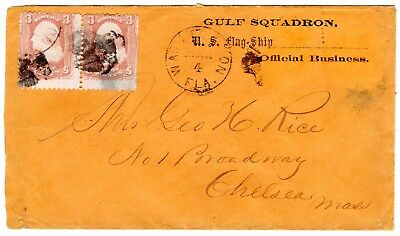 Civil War. Gulf Squadron, U.S. Flag-Ship Imprinted Cover, Warrenton Fla. to Mass