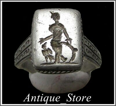 ** MINERVA with EAGLE **Ancient Legionary Silver Roman Ring **AMAZING **