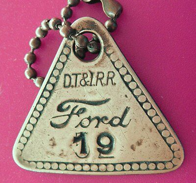 Rare Old FORD MOTOR CO Tool Check Tag: Detroit, Toledo & Ironton Railroad DT&IRR