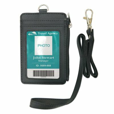 Lanyard ID Holder Wallet Badge Neck Strap Leather Pass 5 Card Slots Business New
