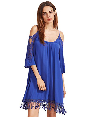 8bd8da0dfb Milumia Women's Summer Cold Shoulder Crochet Lace Sleeve Loose Beach Dress  Royal