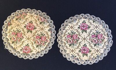 Set Of 2 Vintage Tapestry Doilies Made in Belgium Gold Lace Trim Red Velvet Back