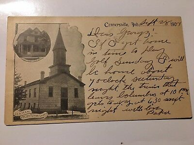 1904 CONNERSVILLE INDIANA GERMAN PRESBYTERIAN CHURCH PARSONAGE early post card