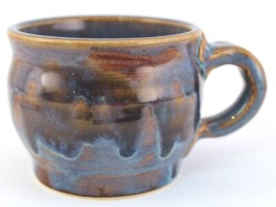 Hand Made Stoneware Pottery Mug Cup Blue Green Brown Wheel Thrown Coffee Cocoa