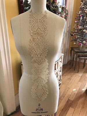 French Embroidered Needle Lace Antique Long Collar Dress Panel Ornate Floral