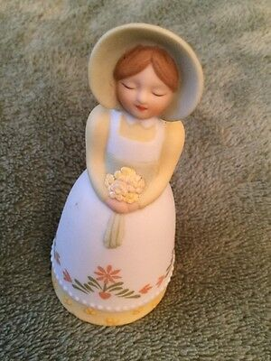 Vintage Avon Country Porcelain Bell 1985 Country Girl with Bonnet and Bouquet