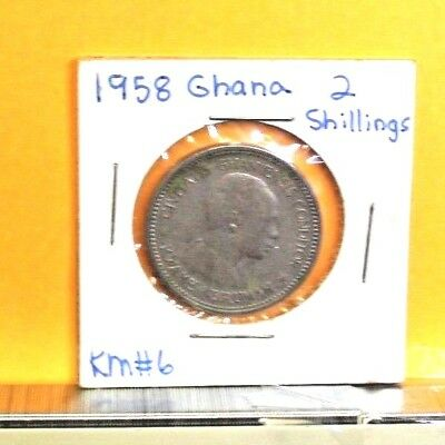 1958 Ghana 2 Shillings Coin KM#6  26.5mm Copper-Nickel circulated