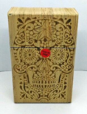 Fujima Star Skull Wood Finish Push To Open King Size Cigarette Case
